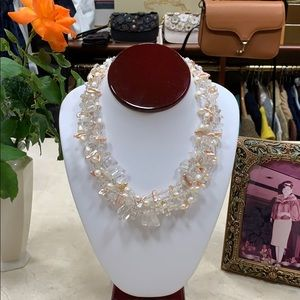 NECKLACE CUSTOM MADE PEARLS PINK CLEAR STONES